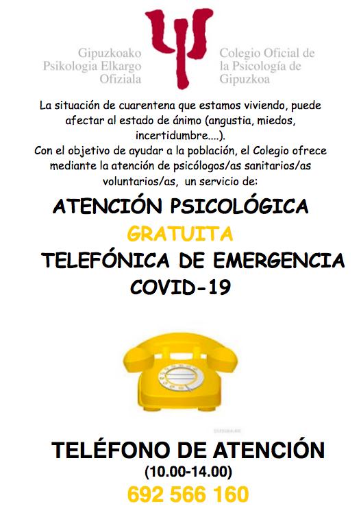 Cartel de atención psicológica.