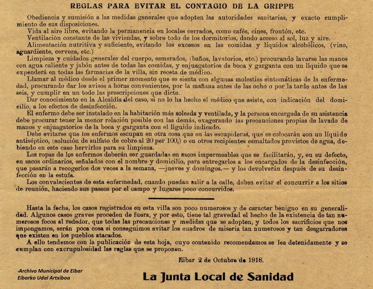 Pandemia de la gripe española de 1918 en Eibar