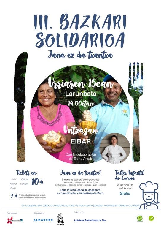 """La plaza de Unzaga acogerá el 15 de octubre la III Comida Solidaria """"Jana ez da txantxa"""""""