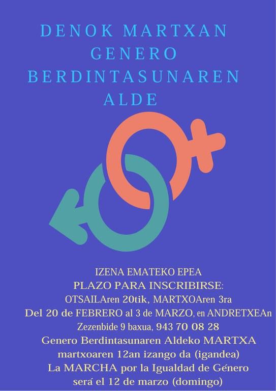 La Primera Marcha por la Igualdad de Género en Eibar se realizará el 12 de marzo