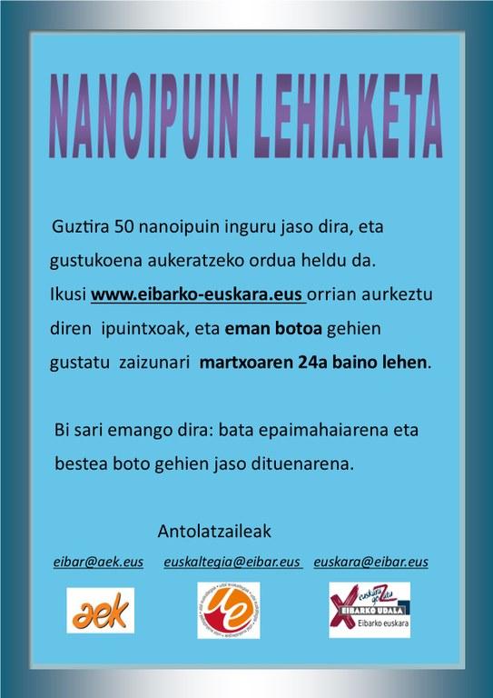 Abierto el plazo para votar en el concurso de nanocuentos en euskera