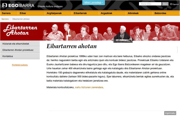 Actualizado el archivo público oral Eibartarren Ahotan