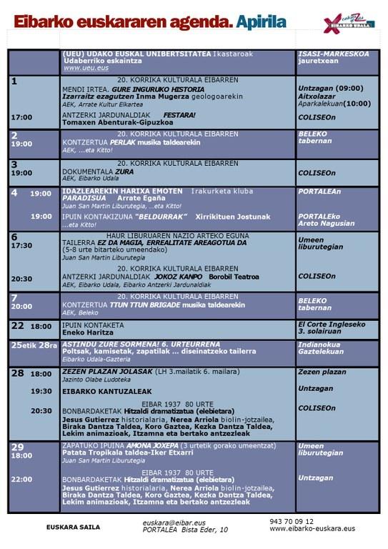 Agenda del euskera. Abril.