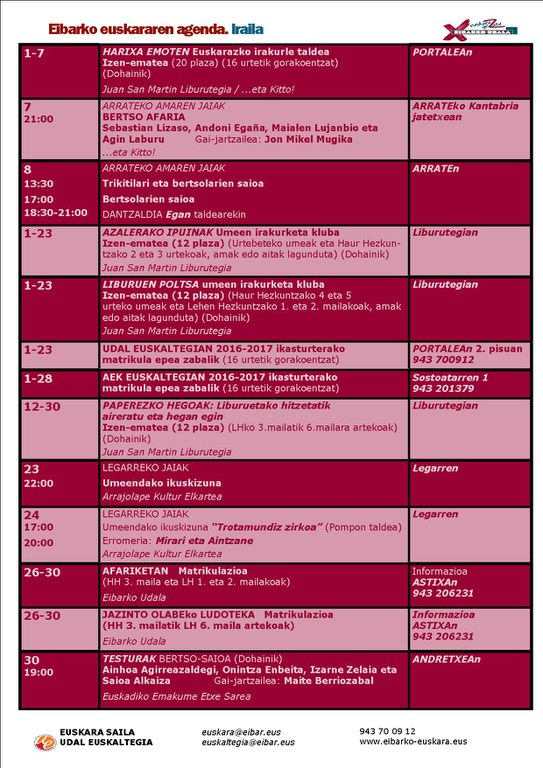 Agenda del euskera de septiembre