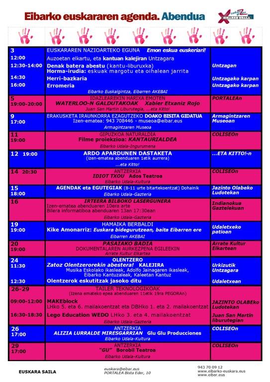 Agenda del euskera. Diciembre.