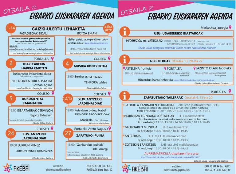 Actos organizados en euskera para febrero