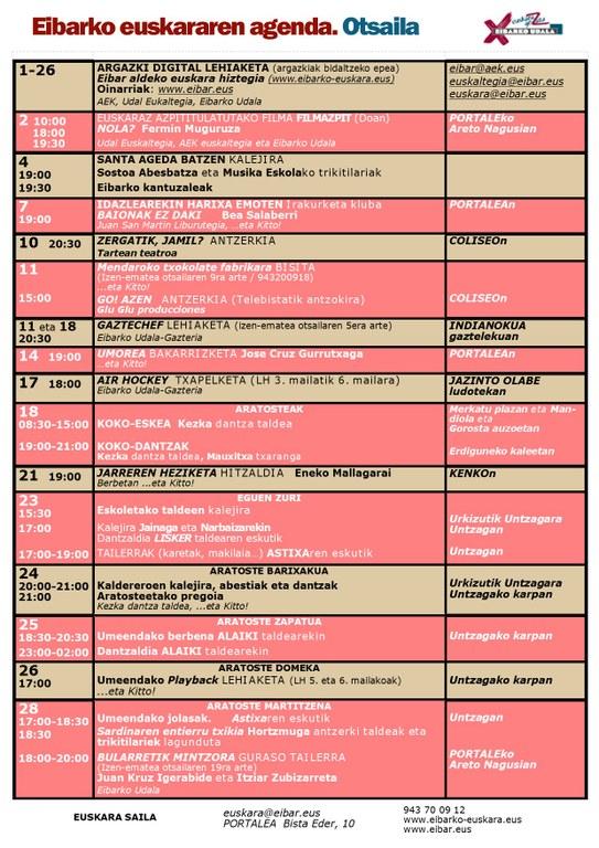 Agenda del euskera. Febrero.
