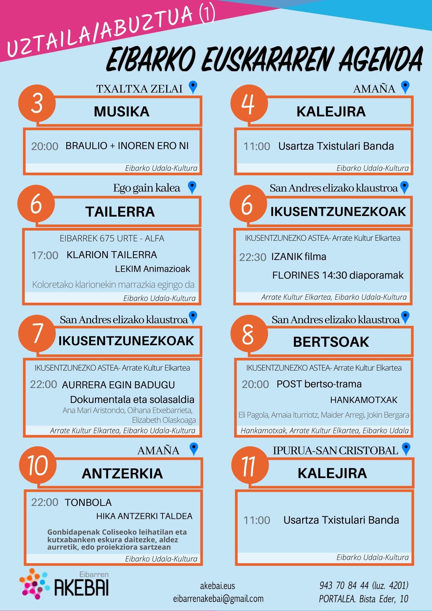 Agenda del euskera. Julio/agosto.