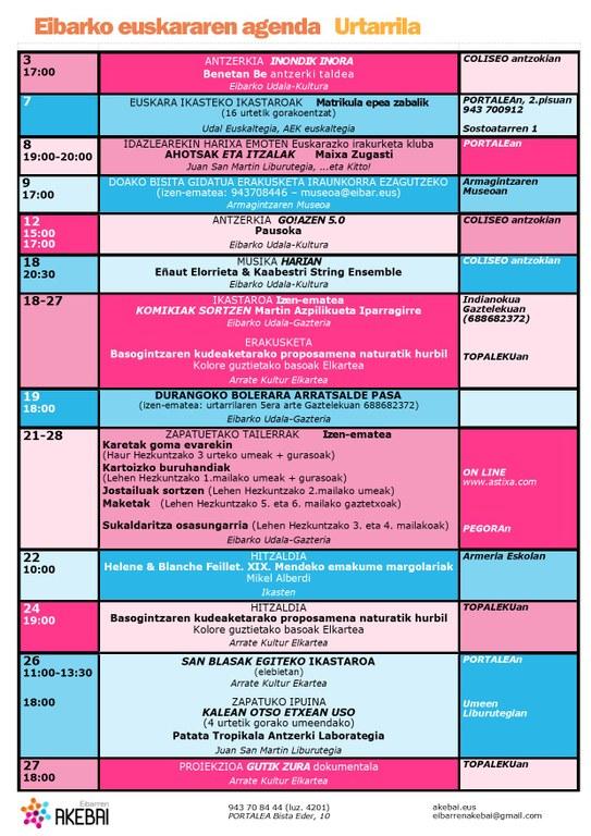 Agenda del euskera. Enero