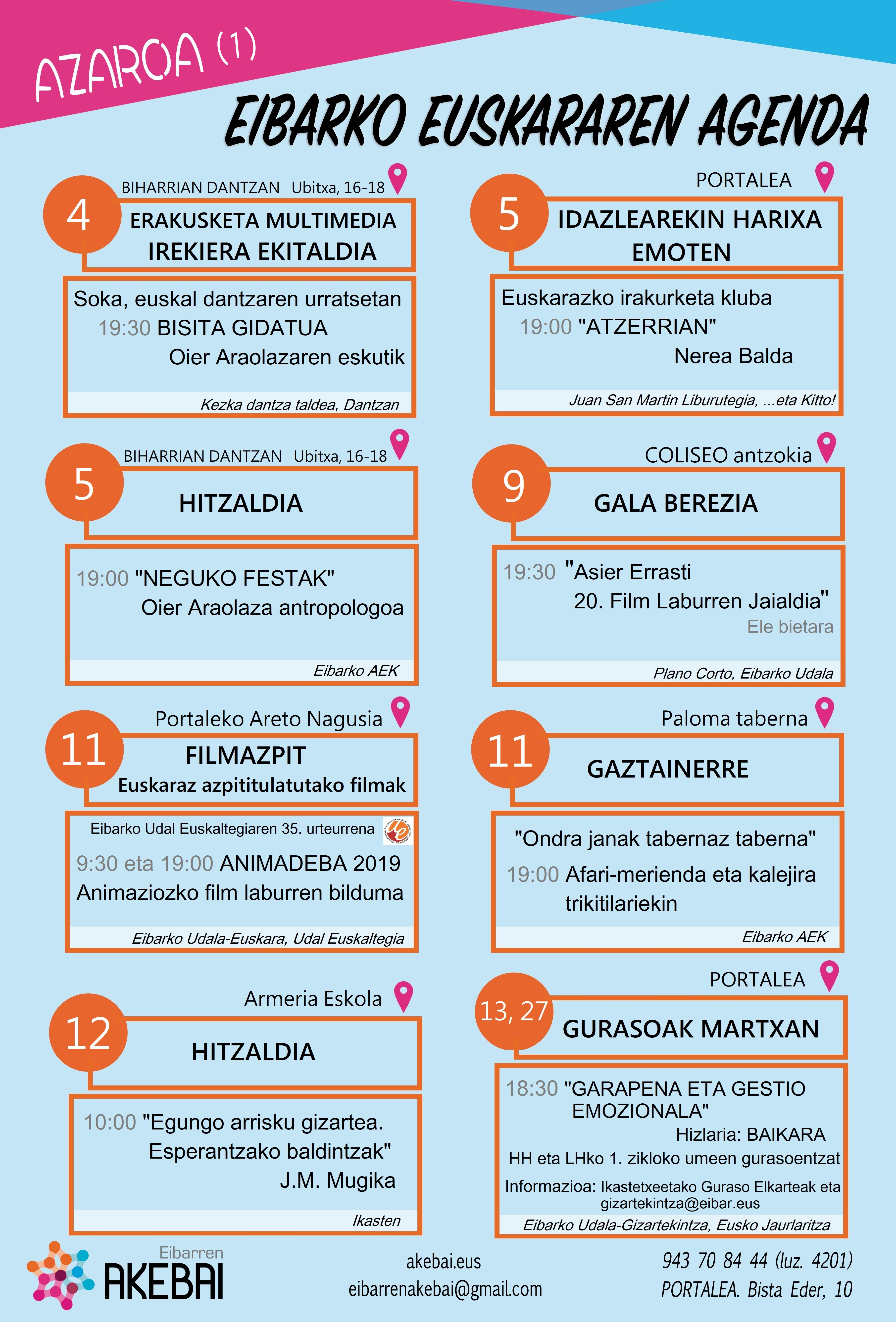 Agenda del euskera. Noviembre.