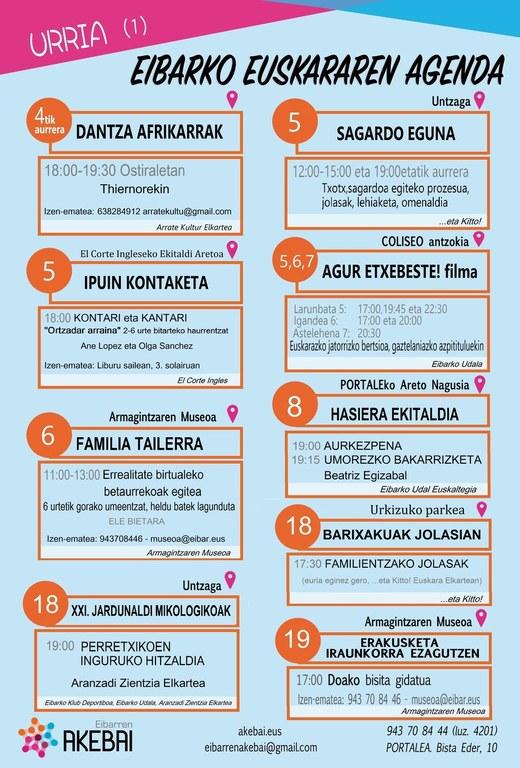 Agenda del euskera. Octubre.