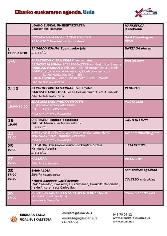 Agenda del euskera. Octubre