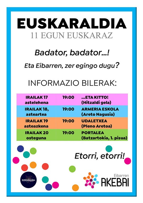 """Con motivo del """"Euskaraldia"""", tendrán lugar varias sesiones informativas durante este mes de septiembre"""
