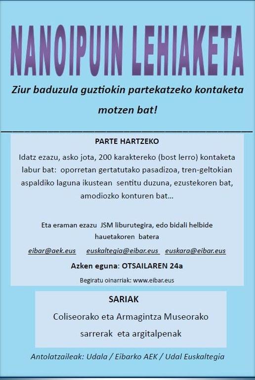 Concurso de nanorelatos en euskera