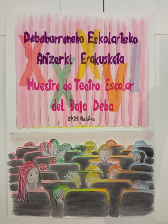 Cartel de la 36º edición de la Muestra de Teatro Escolar del Bajo Deba.