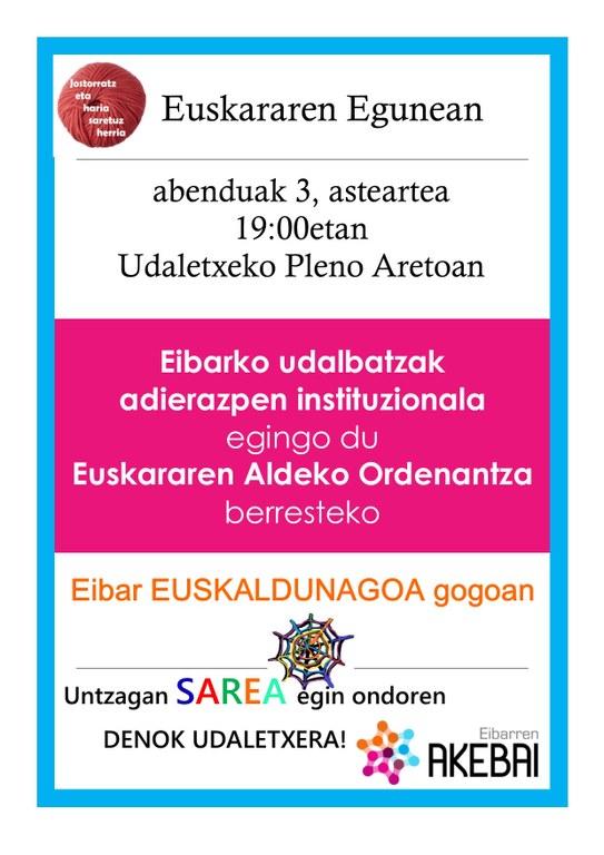 El Ayuntamiento de Eibar se suma, un año más, al Día Internacional del Euskera