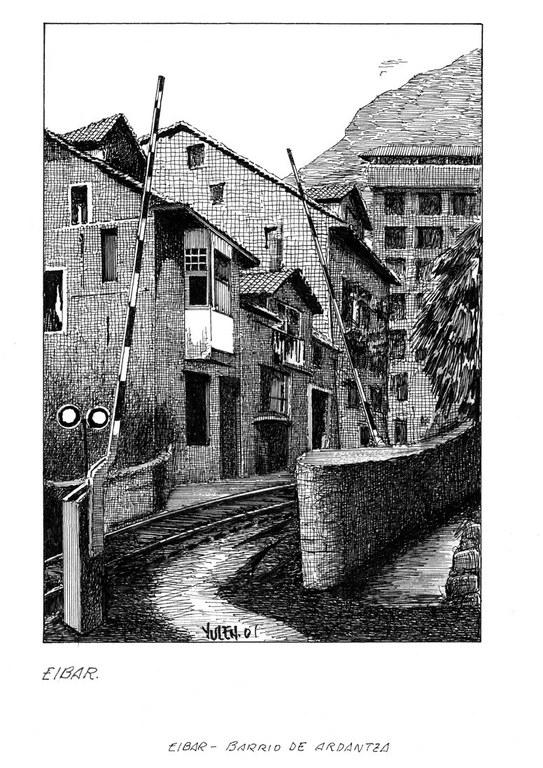 El viejo paso a nivel del tren en Ardantza. Dibujo: Julen Zabaleta.