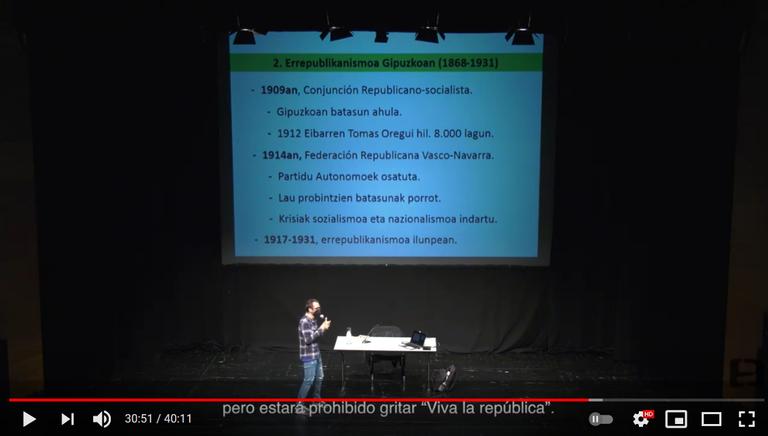 """""""El republicanismo en Gipuzkoa"""" y """"La mujer y la II. República"""", las dos conferencias organizadas con motivo del 90 aniversario de la República, en la red."""