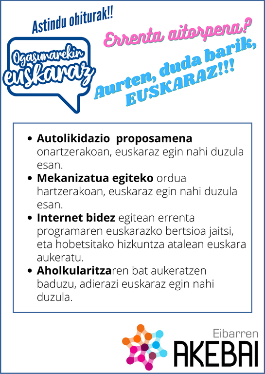 Recomendaciones para comunicarse en euskera con Hacienda