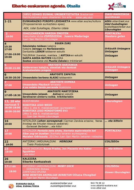 Se ha publicado la Agenda del Euskera de febrero