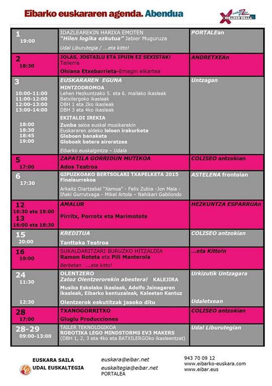 Se ha publicado la agenda del euskera del mes de diciembre