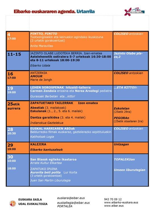 Se ha publicado la agenda del euskera del mes de enero