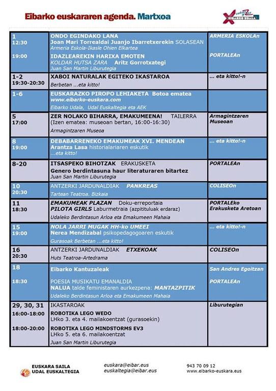 Se ha publicado la agenda del euskera del mes de marzo