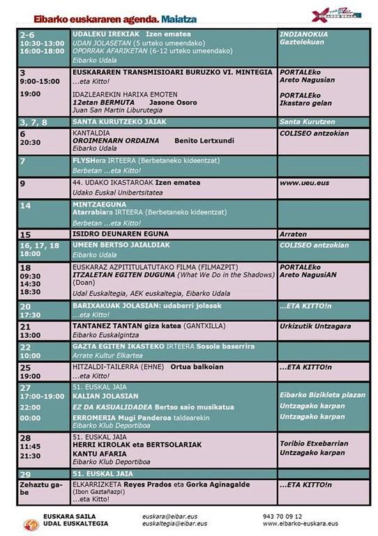 Se ha publicado la agenda del euskera del mes de mayo