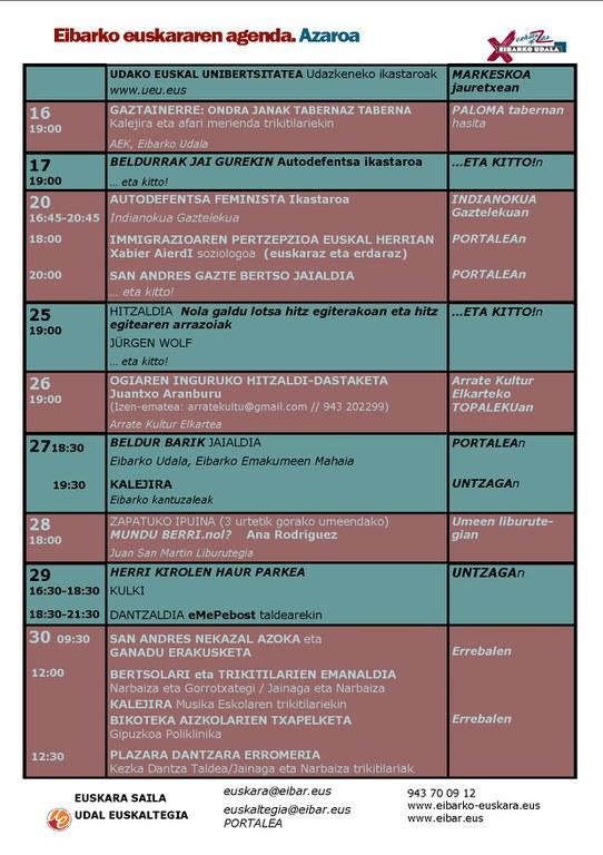 Se ha publicado la agenda del euskera del mes de noviembre