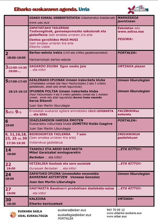 Se ha publicado la agenda del euskera del mes de octubre