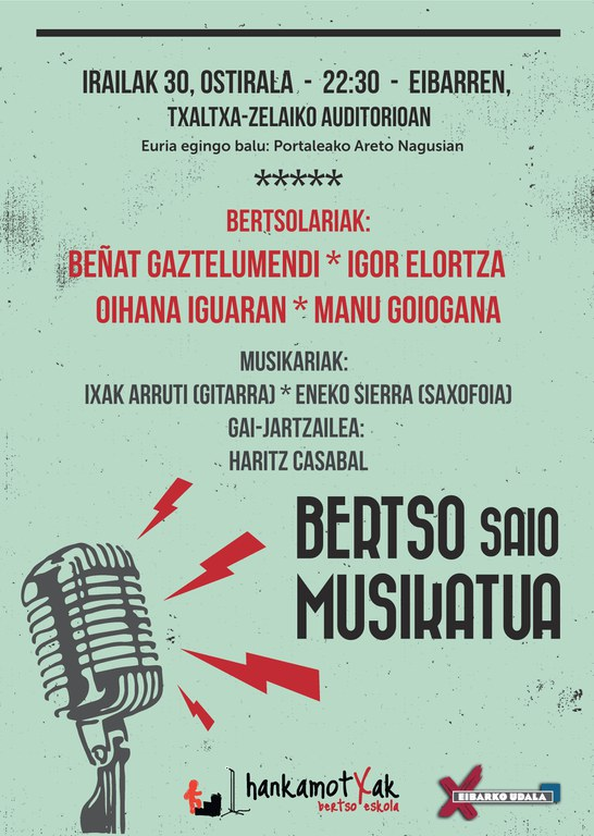Sesión de bertsolaris acompañados de música en Eibar