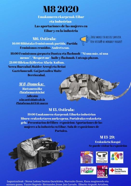 Cartel informativo de las actividades organizadas en torno al 8 de Marzo.