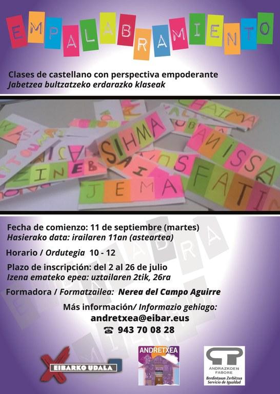 Empalabramiento: en septiembre tendremos en Andretxea clases de castellano con perspectiva empoderante