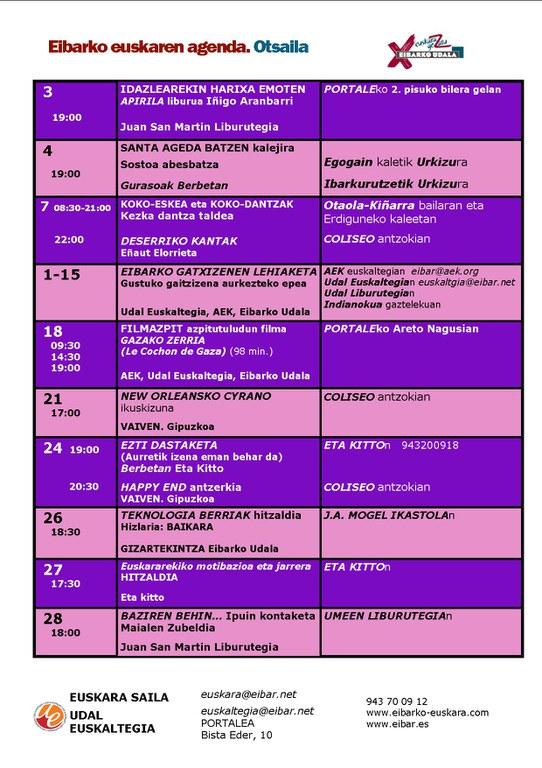 Agenda del euskera. FEBRERO