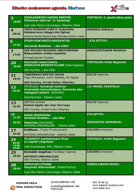 Agenda del euskera. Marzo