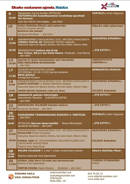 Agenda del euskera. Mayo