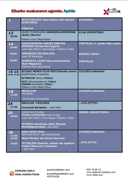 Agenda del euskera
