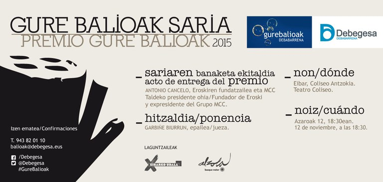 Antonio Cancelo, fundador de Eroski y expresidente del Grupo MCC, recibirá el Premio Gure Balioak 2015