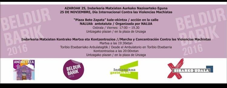 Eibar se suma a la conmemoración del Día Internacional contra la Violencia hacia las Mujeres