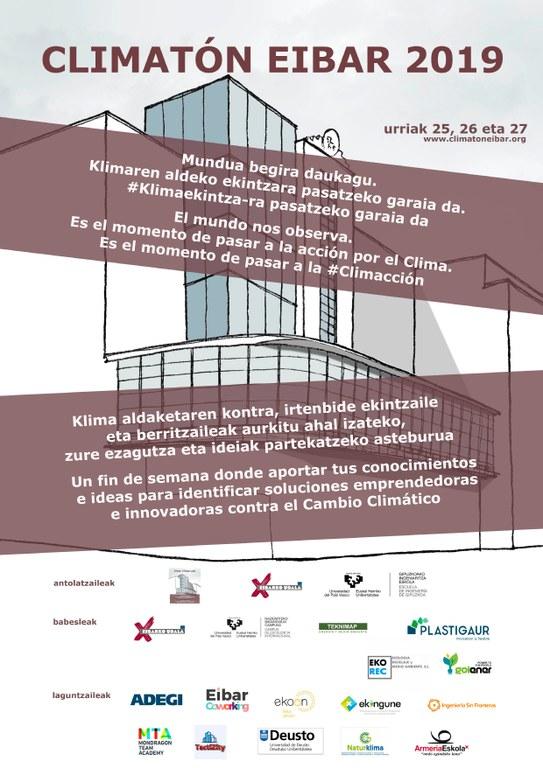 """Eibar se suma, un año más, al Climatón, bajo el nombre """"Climatón Jóvenes Ecoemprendedores Eibar 2019"""""""
