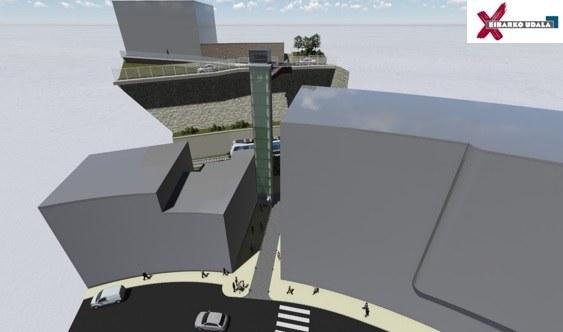 El Ayuntamiento de Eibar inicia el procedimiento de contratación para construir el ascensor público que unirá el centro con el barrio de Jardiñeta