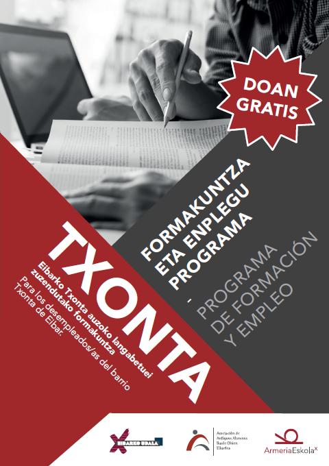 El Ayuntamiento de Eibar, la Asociación de Antiguos Alumnos de Armeria Eskola y Armeria Eskola lanzan el programa de formación y empleo Txonta