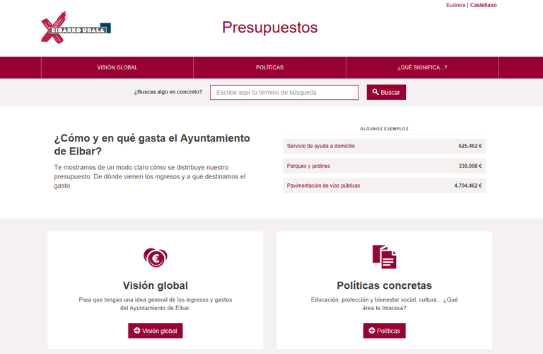 El Ayuntamiento de Eibar publicará sus presupuestos de forma visual y comprensible