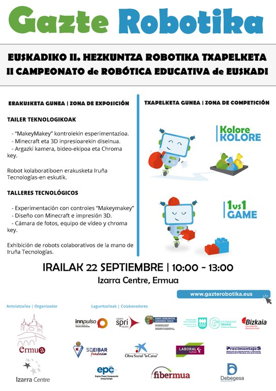 Ermua acogerá este sábado la segunda edición del Campeonato de Robótica Educativa de Euskadi 'Gazte Robotika', tras la exitosa primera edición celebrada en Eibar el pasado año