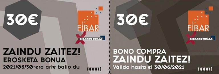 Bonos-compra disponibles en la campaña Zaindu Zaitez.