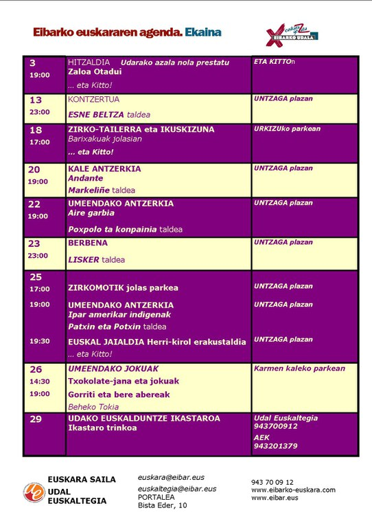 Junio. Agenda del euskera