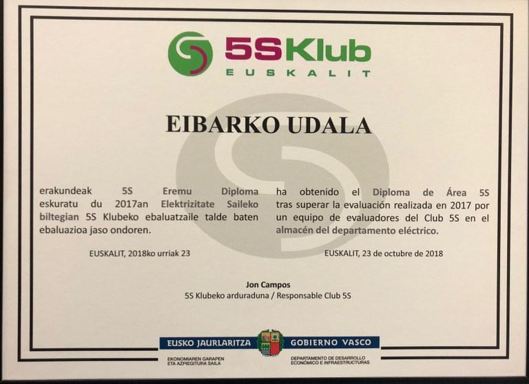 La Brigada Municipal obtiene por segundo año la certificación 5S de calidad concedida por Euskalit