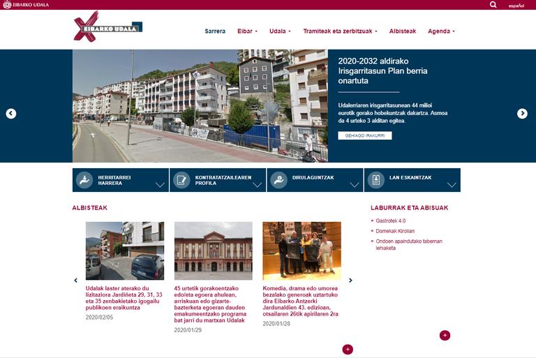 La web municipal eibar.eus aumentó un 5,12 % el número de visitas en 2019, con respecto al año anterior