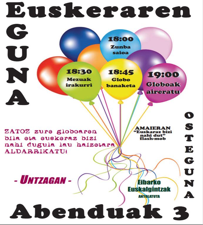 'Mintzodromo', sesión de zumba y lanzamiento de globos al aire con motivo del Día Internacional del Euskera
