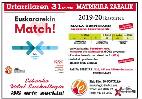 Matrikula zabalik Udal Euskaltegian